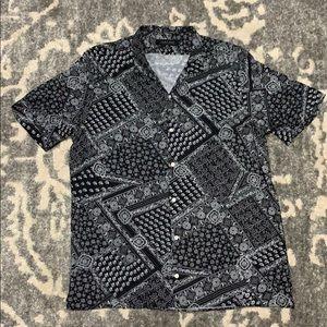 Zara Man Relaxed Fit Black Bandana Print Shirt L